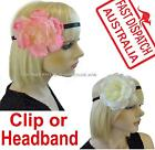 Boho  Rose Floral Flower Head Forehead Band Headband Fascinator Brooch Clip Pin