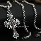 Passion of Christ 925 Sterling Silver Garnet Cross Mens Biker Pendant 8Q005A
