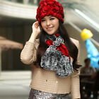 New Real Genuine Knit MixColor Mink Fur  Three Flower Scarf Wrap Stole H46