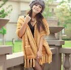 Real Genuine Knit Mink Fur Multi Color Stole Cape Shawl Scarf Coat Wear H27
