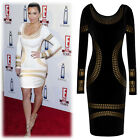 Ladies Sexy Long Sleeve Foil Print Bodycon Cocktail Evening Party Pencil Dresses