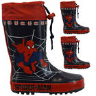 KIDS BOYS SPIDERMAN WINTER SNOW MOON MUCKER WATERPROOF WELLINGTON WELLIES BOOTS