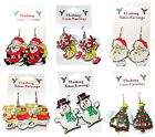 Novelty Christmas Flashing Motif Drop Earrings Xmas Santa Snowman Tree Rudolph