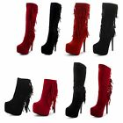 New Ladies Stiletto High Heel Tassle Platform Zip Up Suede Long Boots UK Sizes