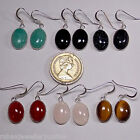 14x10mm GENUINE GEMSTONE CABOCHON 925 STERLING SILVER DROP / DANGLE EARRINGS
