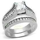Princess Cut Stainless Steel Ring Wedding Set AAA CZ w accents 5 6 7 8 9 10