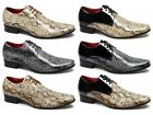 Mens Faux Snakeskin Leather Formal Pointed Casual Padded 3 Eyelet Lace-Up Shoes
