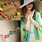 Girl Ethnic Style Rainbow Candy Color Crystal Beads Bracelet Bangle Cuff