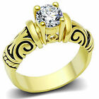 Women's Vintage Style 6mm Round CZ Solitaire Gold IP Engagement Ring Size 5-10