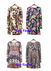 NEW WOMENS LONG SLEEVED SPRING SUMMER SWING MINI DRESS FLORAL PAISLEY UK 8-14