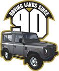 ROVING LANDS CARTOON TEE SHIRT LAND ROVER DEFENDER 90 DUNSFOLD BILLING LRO SHOW