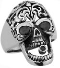 STAINLESS STEEL SKULL WITH BLACK STONE EYES RING SIZES 10-14 R48