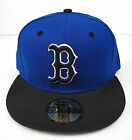Boston Red Sox Blue On Black All Sizes Fitted Cap Hat by New Era