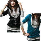 DJT Womens Ladies Long Sleeve Hot Hooded Stretch Slim Fit T-Shirt Tops Size S-XL