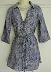 Fab White Stuff Blue & White Floral Linen Mix Belted Tunic Top 8 10 12 14 16 18