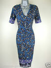 Ex M&S Per Una Dress Jersey Print Pleat Wrap Vintage Green Blue Size 8