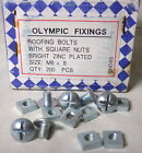 Olympic Fixings Box of 200 8mm Roofing Bolts w Square Nuts Zinc Size M6 x 8