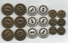6x Vintage Metal Military Retro Buttons ~ Silver or Bronze 20mm 22mm