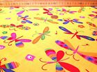 DRAGONFLY YELLOW ORANGE PURPLE RED NURSERY CHILDRENS POLYCOTTON FLORAL FABRIC