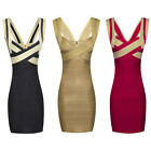 Womens Stretch Bodycon  Contrast Sparkly Lurex Bandage Knitted Party Mini Dress