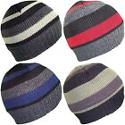 Mens or Boys Striped Beanies Thinsulate Beanie Fully Lined Winter Hat 4 Colours