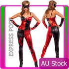 Ladies Harlequin Jester Masquerade Costume Joker Fancy Dress Full Outfits