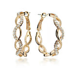 18K Gold Filled Infinity Round Hoop Crystal Pierced Clip-On Earring 045A1