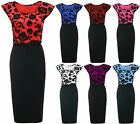 Womens Ladies Cap Sleeve Belted Floral Print Contrast Bodycon Midi Party Dress