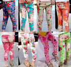 Girls flower prints cotton elasticated waist stretch skinny trouser pants 2-7yrs