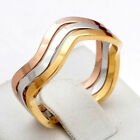 18K 3TONE GOLD FILLED R21 RUSSIAN WAVE ETERNITY TRILOGY BAND SOLID RING SET GIFT