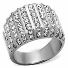 Crystal Cluster Ring Stainless Steel Wide Band  Womens Size 5 6 7 8 9 10