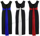 WOMENS PLUS SIZE SLEEVELESS TIE KNOT MAXI LONG EVENING PARTY DRESS SIZE 16-26