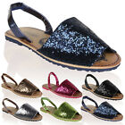 LADIES SLINGBACK GLITTER SANDAL SPOT ON F0692