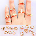 7pcs Punk Love Crown Bowknot Knuckle Midi Mid Finger Stacking Tail Ring Gift Set