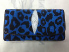NEW 100% GENUINE STINGRAY LEATHER CLUTCH WALLET,TRI-FOLD BLUE-BLACK CHEETA COLOR
