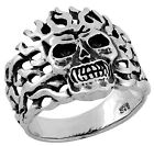 STAINLESS STEEL SKULL RING WITH FLAMES IN SIZES 7-11 R172