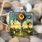 """VINTAGE TRAPEZE ARTISTS"" CIRCUS POSTER HOT AIR BALLOON GLASS PENDANT NECKLACE"