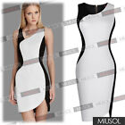 Women Celeb Monochrome Black White Contrast Optical Illusion Party Bodycon Dress