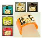 Women PVC Jelly Designer Bracelet Pyramid Bangle Lady Studs Cuff H/C Accessory