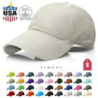 Polo Style Baseball Cap Ball Dad Hat Adjustable Visor Solid Washed Cotton Mens