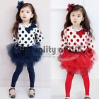 New Kids Toddlers Girls Dot Top Coat And Short Skirt Outfit/Set sz2-7Y HC