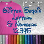Personalised Name Text glitter IRON-ON TRANSFER Numbers T-Shirt Letters Disney