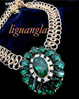 New Jewelry Green/Blue Crystal Inlay Flower Metal Chain Adjustable Necklace