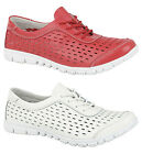 Womans Brand New Red / White Leather Summer Beach Trainers Sizes UK 3 - 8