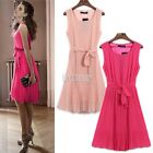 Fashion Vintage Womens Boho Chiffon Sleeveless Ruched Pleated Maxi Long Dress
