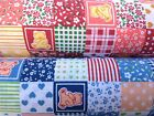 Floral PolyCotton Fabric Patchwork Bear Heart Stripe Star Blue Peach Red Checks
