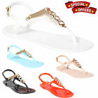 LADIES WOMENS RETRO FLAT JELLY BEACH SANDALS SUMMER GIRLS FLIP FLOPS SHOES SIZE