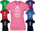 KEEP CALM AND DRINK TEA - BIRTHDAY Funny Cup Teapot Tin Bag Mug LADY FIT TSHIRT