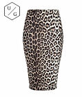 LADIES LEOPARD OFFICE WOMEN STRETCH BODYCON MIDI PENCIL SKIRT 8-14