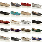 WOMENS LADIES GIRLS FLAT STUDDED SLIPPERS LOAFERS SLIP ON DOLLY PUMPS SHOES SIZE